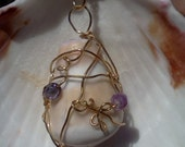 Kauai Shell Necklace, Wire Wrapped Shell Pendant