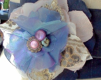 Flower Sash Belt, Shabby Chic, Blue with Vintage Buttons