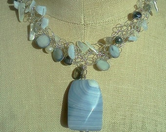 CLEARANCE. Blue Lace Agate Pendant, Moonstone Necklace,  Wire Crochet Jewelry, Something Blue