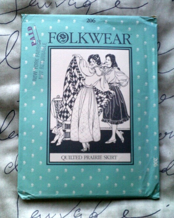 Folkwear Sewing Pattern 206 quilted praire skirt