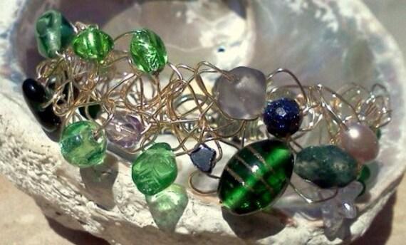 SALE...Boho Green, Gold Wire Crocheted Bracelet, Boho Chic