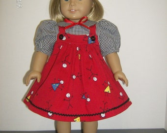 """American Girl or 18 Inch Doll Clothes / 3 pc. """" Stick Friends"""" Jumper Set"""