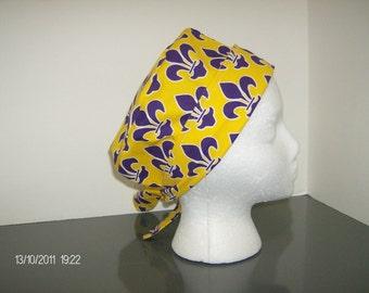 Purple and Gold Fleur de Lis 2 in 1 Chemo/Scrub Cap