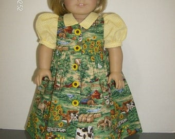 """American Girl or 18 Inch Doll Clothes / 2 pc. """"Down by the Farm"""" Dress and Hat"""