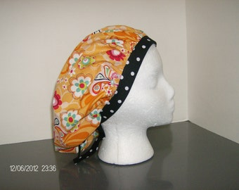 Orange Paisley Floral and Birds with Black and White Polka Dots Bouffant Surgical Scrub Cap