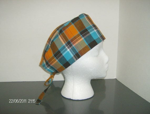 Brown, Orange, Turquoise and White Plaid Scrub Cap
