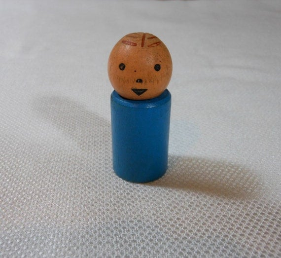 Vintage Fisher Price Wood Little People Blue Boy