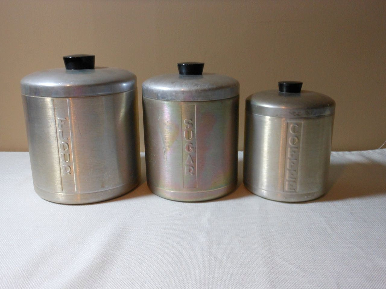 Vintage Metal Canister Set by 2cool2toss on Etsy
