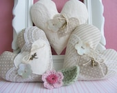 Fabric hearts, set of three, bowl fillers ,home decor, ornement.