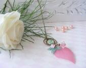 Romantic style plum purple leaf necklace