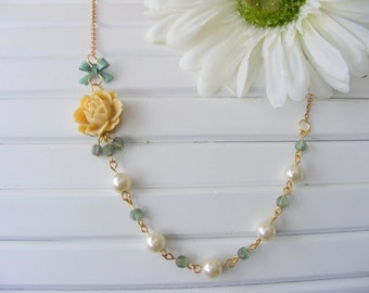 Raw brass necklace, romantic style ivory rose and pearls