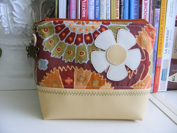Flower applique  Cosmetic pouch