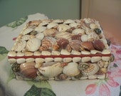 Vintage Seashell Covered Jewelry Box or Trinket Box