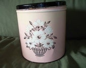 Pretty Vintage Large Metal Canister Pink and Black with Flowers