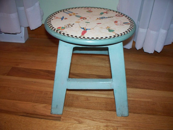 Cute Vintage Painted Wooden Child's Stool Blue Green with Circus Characters