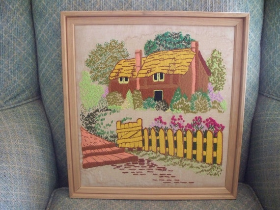 Pretty Vintage Framed Crewel Needlepoint Wall Hanging Cottage in the Garden