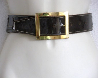 Vintage Brown Patent Leather Belt NIce Stitching Gold Buckle Reduced!