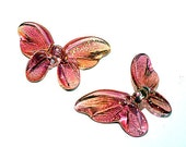 Shimmering Rose Gold Butterfly Lampwork Glass Bead Set of 2