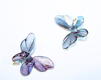 Aqua Shimmer-Butterfly Lampwork Glass Bead Set of 2