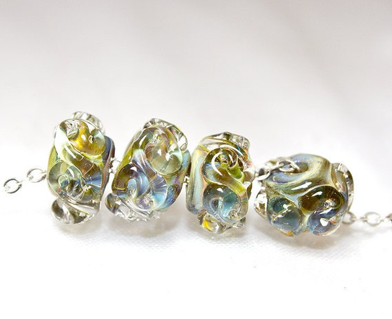 Spring Green Ripple Accent Lampwork Set of 4 Beads