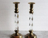 Vintage Brass and Lucite Candlesticks