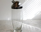 SALE Extra 25% OFF Vintage Cocktail Shaker, Glass and Chrome.