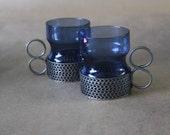 Vintage Iittala Tsaikka Glass Cup Set in Blueberry