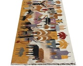 75% OFF SALE Vintage Peruvian Hand Woven Rug