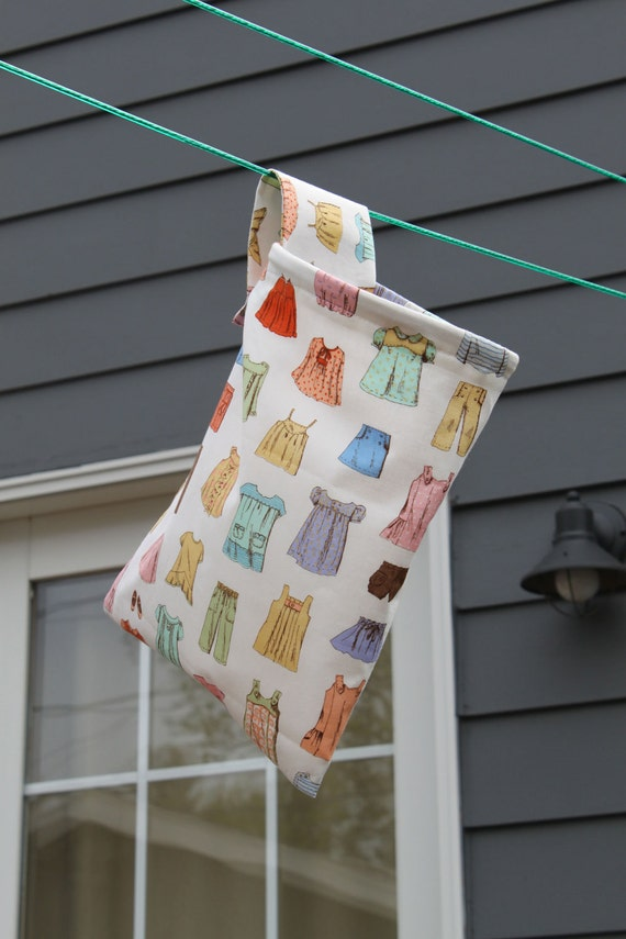 Hanging Organization or Clothespin Bag - Virginia's Closet Fabric Cape Ann by Oliver & S by Pink Tag