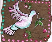 Dove Painting, Amate Inspired Painting