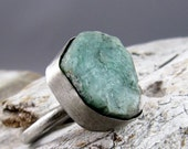 Raw Emerald Silver Ring