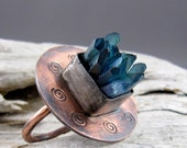 Aqua Aura Quartz Points Spiral Design Copper with Fine Silver Ring