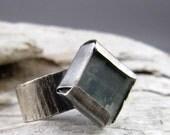 Kyanite Oxidized Silver Ring