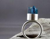 Aqua Aura Crystal Points Silver Ring