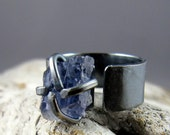 Rough Iolite Oxidized Sterling Silver Ring