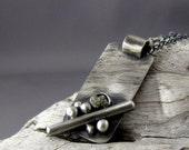 Raw Diamond Oxidized Silver Pendant