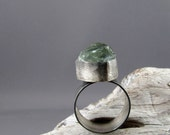Prasiolite Fine and Sterling Silver Ring