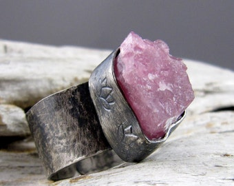 Rubellite Tourmaline Lotus Design Silver Ring