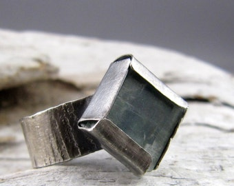 Kyanite Oxidized Silver Ring