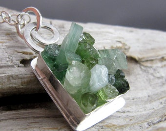 Tourmaline Crystal Silver Pendant