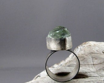 Prasiolite Fine and Sterling Silver Ring