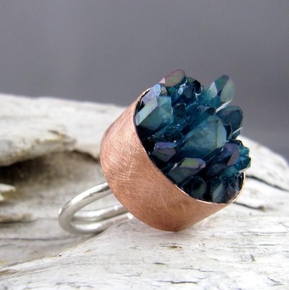 Aqua Aura Quartz Points Copper and Silver Ring