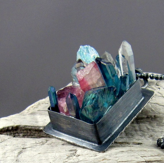Mixed Crystal Silver Pendant