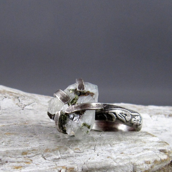 Raw Datalite with Pyrite Sterling Silver Ring