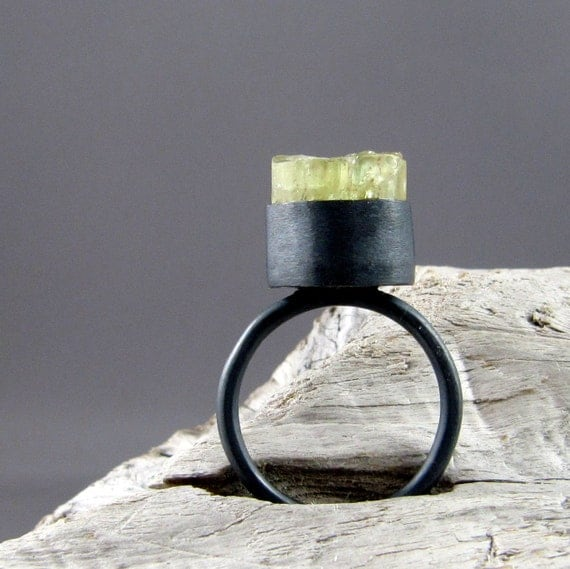 Raw Golden Apatite Oxidized Sterling and Fine Silver Ring