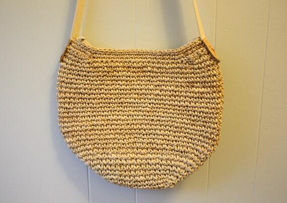 80s Straw / Rattan Woven Shoulder Bag Purse