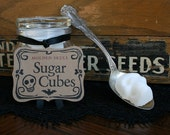 Sugar Cube Skulls - 2 Mini Apothecary Jars of Eight Skulls