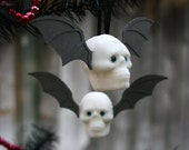Christmas Ornament Mini Skull  - One Pair - Silver Wings + Glitter