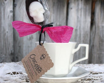 Valentine Gift - Cafe Mexicano - Gothic Valentine 6  Cinnamon Chocolate Dipped Spoons Sugar Skulls