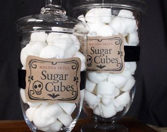 Gothic Christmas Sugar Skulls Apothecary Jar - 30 Skull Sugar Cubes Nightmare Before Christmas